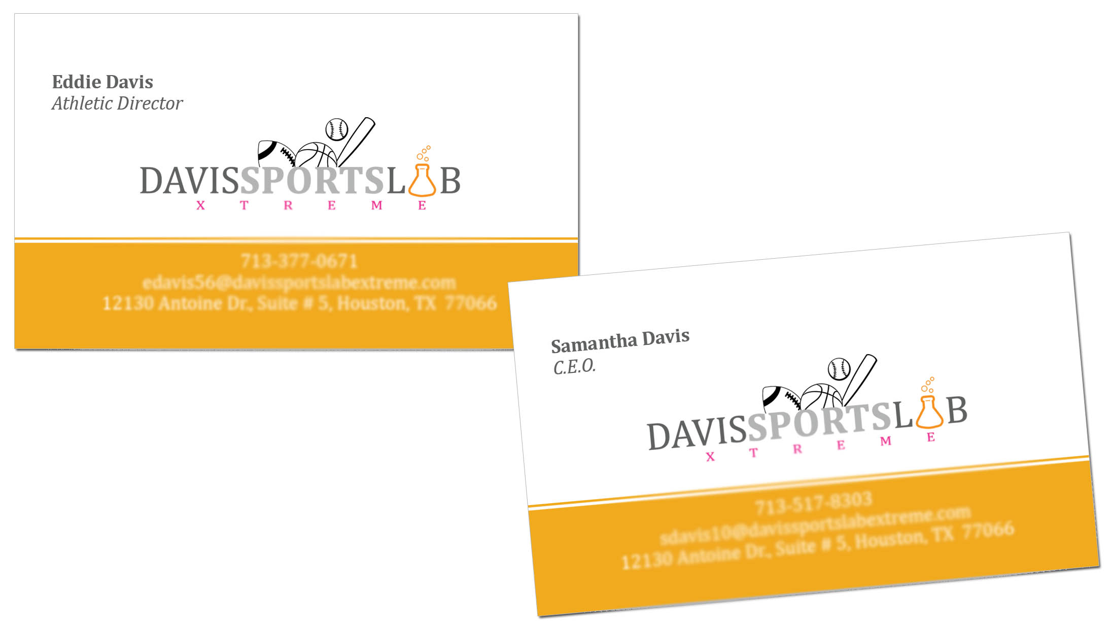 davis sports lab xtreme logo business cards
